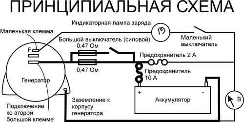 Принципиальная электрическая схема подключения автомобильного генератора к аккумулятору с датчиком мощности из вольтметра