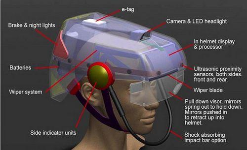 Велосипедный шлем с номерным знаком, видеокамерой и стеклоочистителем